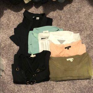4 Papaya shirts, 1 Poof Excellence sweater, Dress